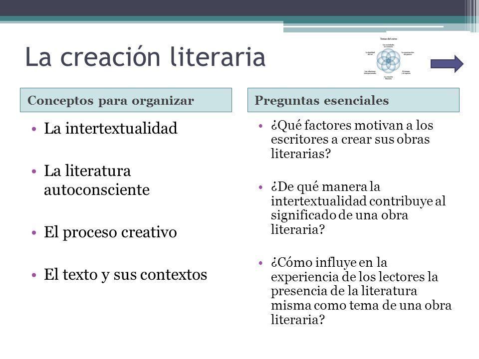 La creación literaria La intertextualidad La literatura autoconsciente