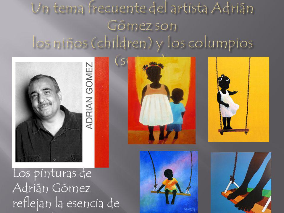 Un tema frecuente del artista Adrián Gómez son los niños (children) y los columpios (swings).