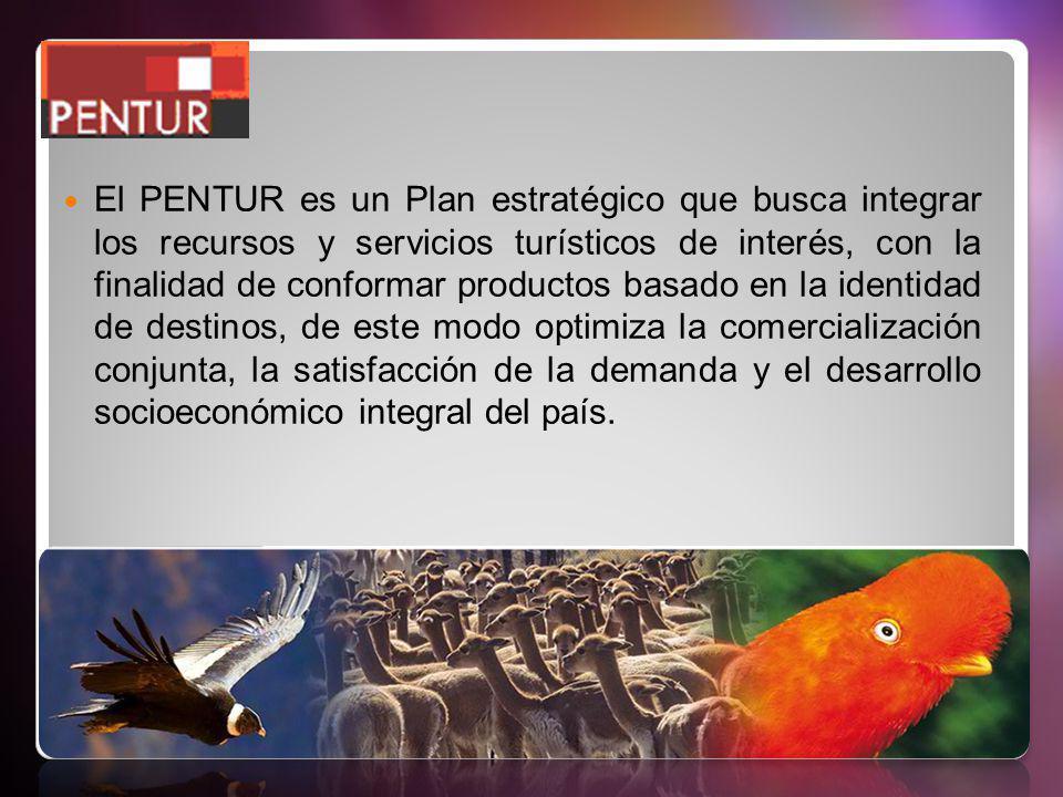 El PENTUR es un Plan estratégico que busca integrar los recursos y servicios turísticos de interés, con la finalidad de conformar productos basado en la identidad de destinos, de este modo optimiza la comercialización conjunta, la satisfacción de la demanda y el desarrollo socioeconómico integral del país.