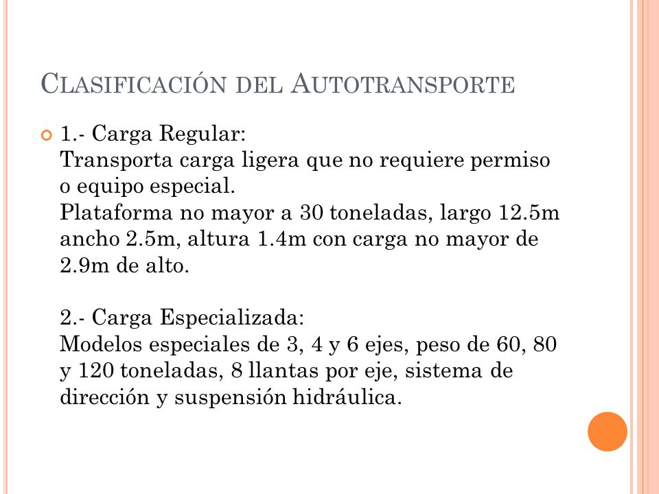 Clasificación del Autotransporte