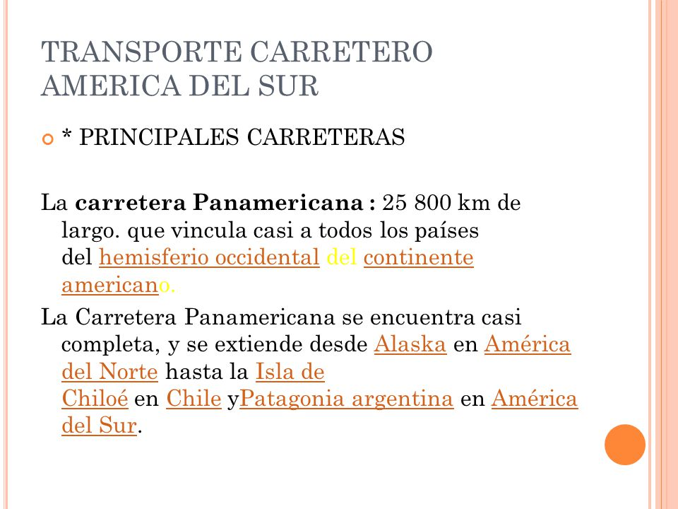 TRANSPORTE CARRETERO AMERICA DEL SUR