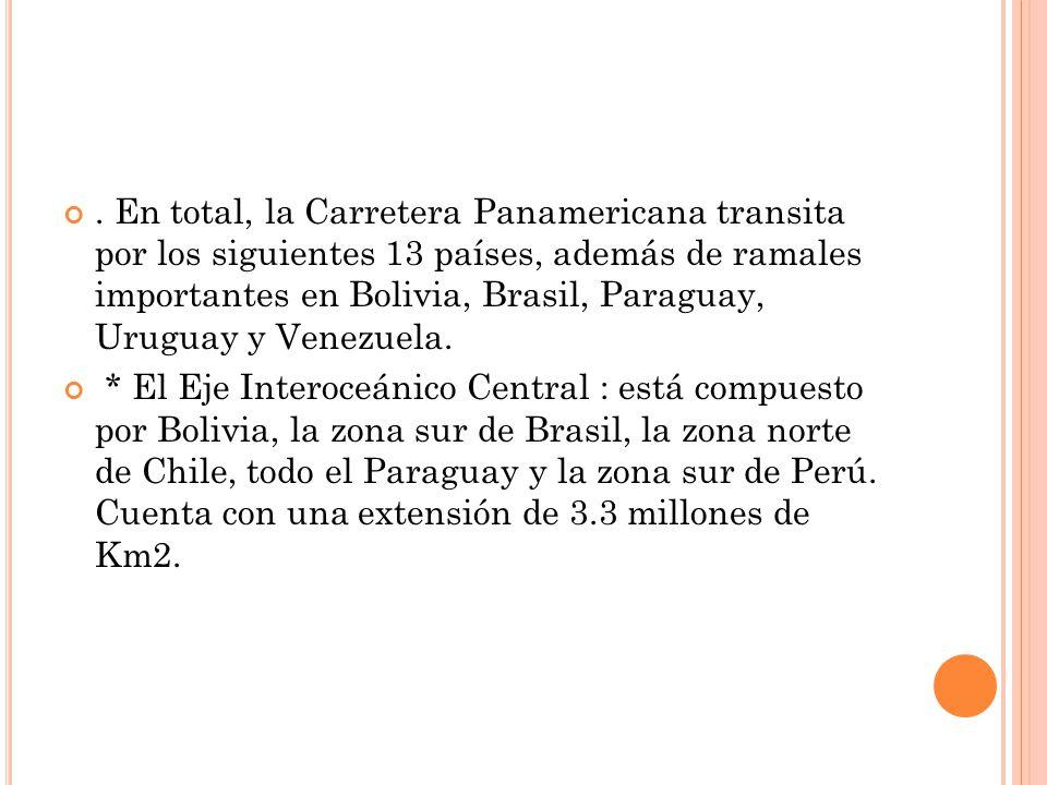 . En total, la Carretera Panamericana transita por los siguientes 13 países, además de ramales importantes en Bolivia, Brasil, Paraguay, Uruguay y Venezuela.
