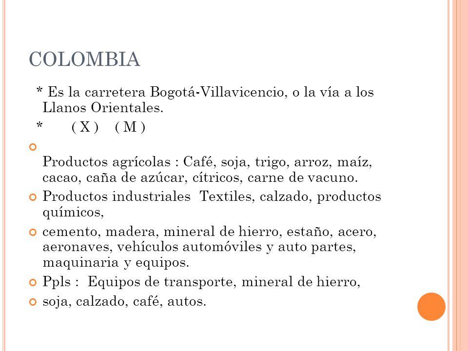 COLOMBIA * Es la carretera Bogotá-Villavicencio, o la vía a los Llanos Orientales. * ( X ) ( M )