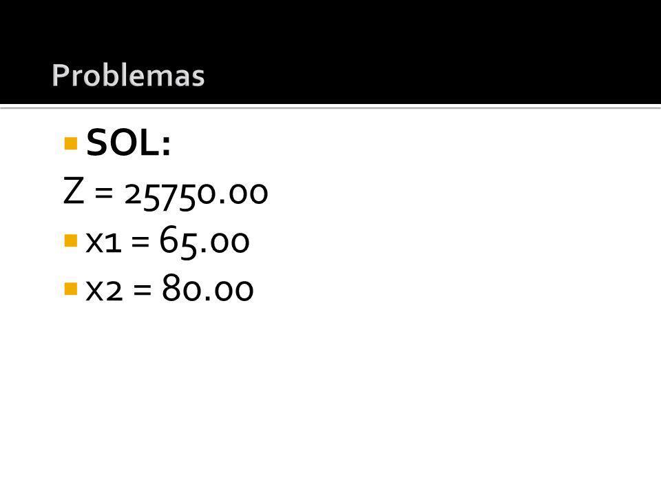 Problemas SOL: Z = 25750.00 x1 = 65.00 x2 = 80.00