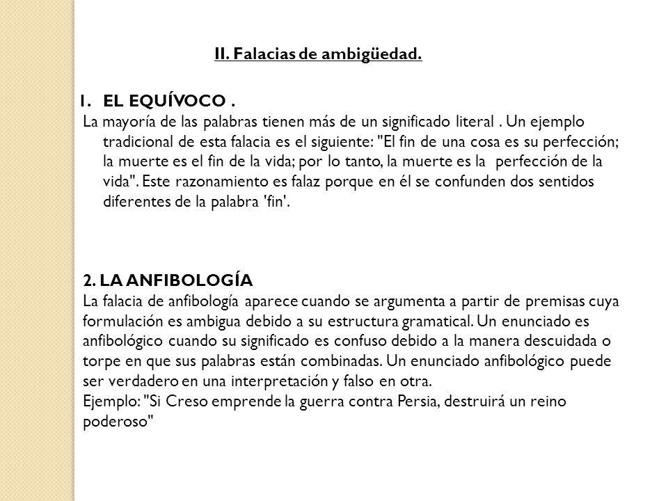 II. Falacias de ambigüedad.