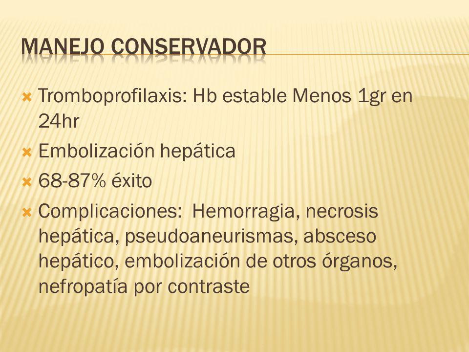 MANEJO Conservador Tromboprofilaxis: Hb estable Menos 1gr en 24hr