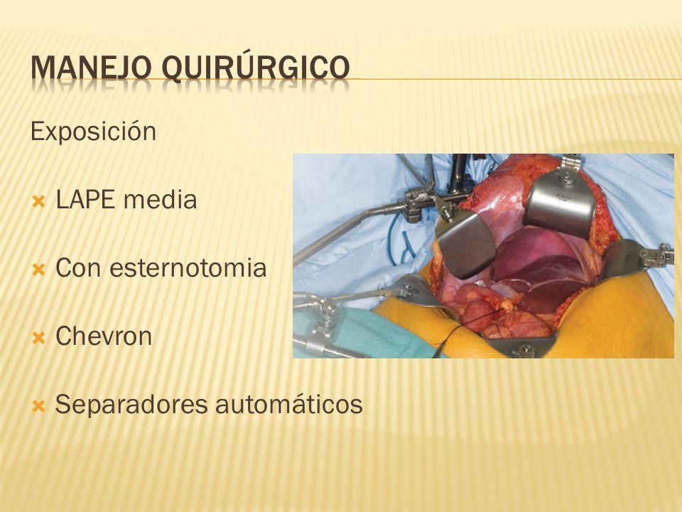 Manejo quirúrgico Exposición LAPE media Con esternotomia Chevron