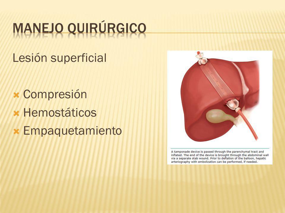 Manejo quirúrgico Lesión superficial Compresión Hemostáticos