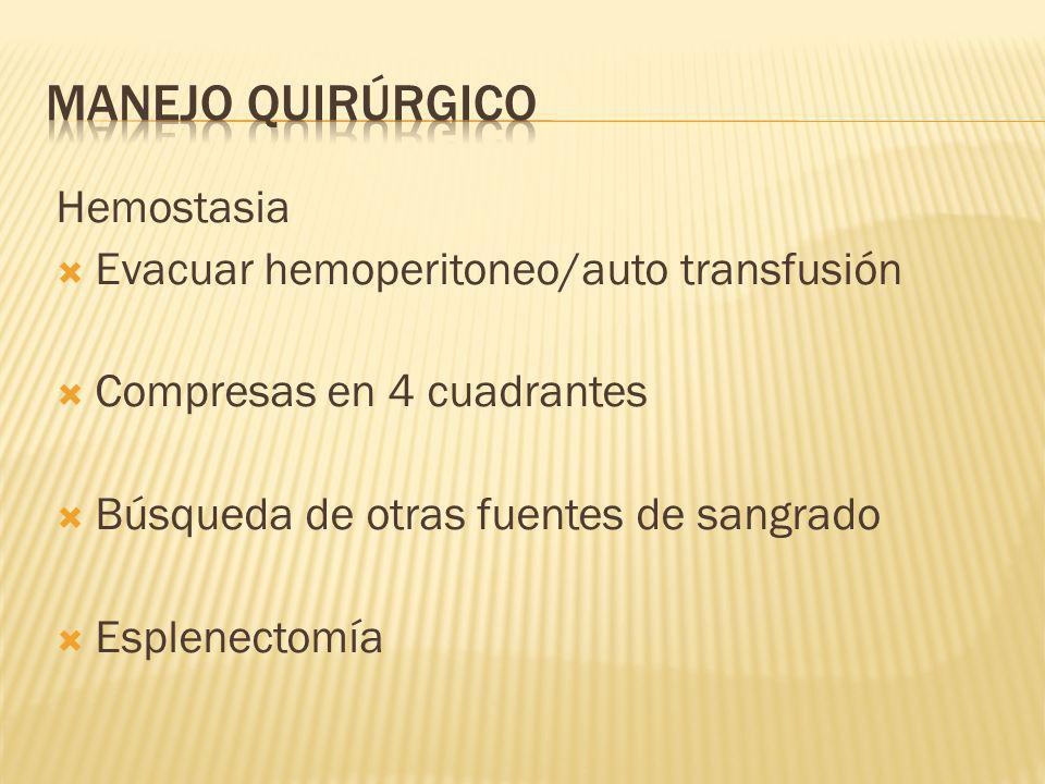Manejo quirúrgico Hemostasia Evacuar hemoperitoneo/auto transfusión