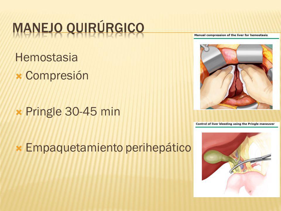 Manejo quirúrgico Hemostasia Compresión Pringle 30-45 min