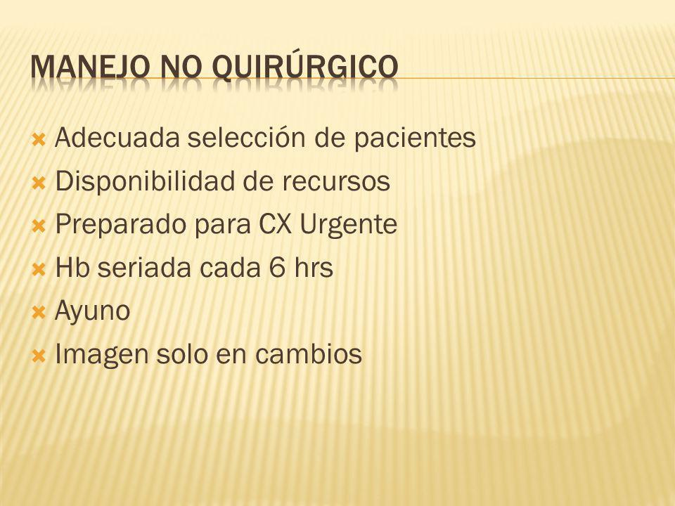 MANEJO NO QUIRÚRGICO Adecuada selección de pacientes