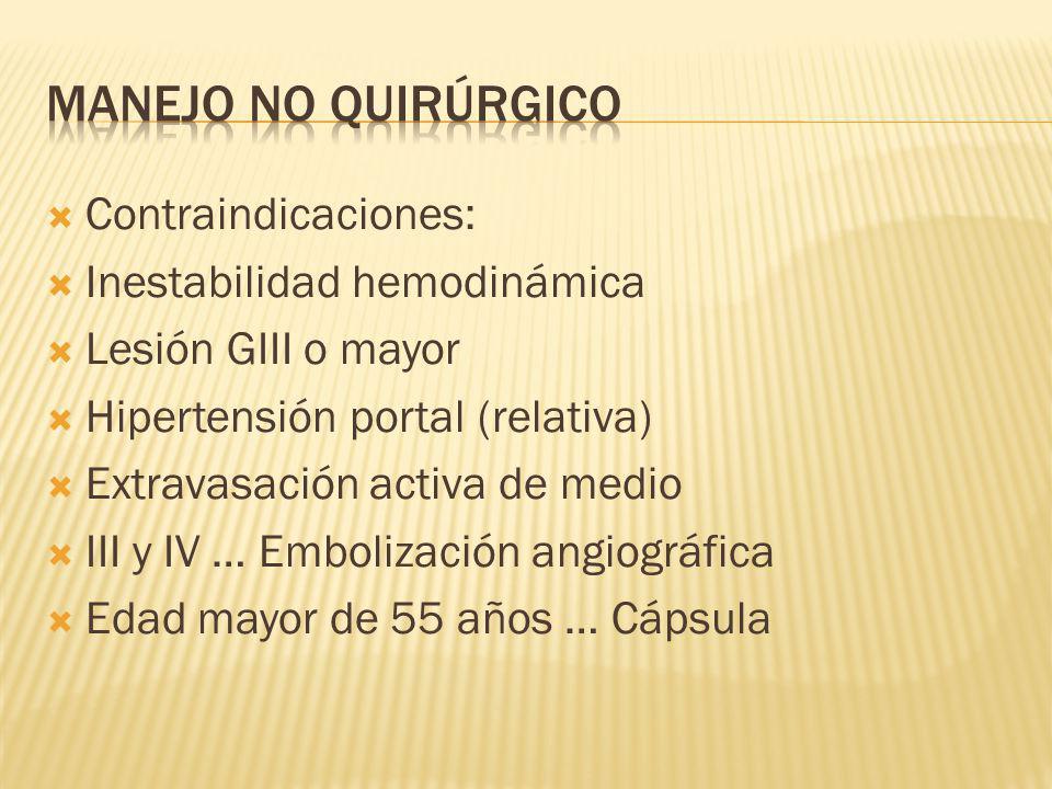 MANEJO NO QUIRÚRGICO Contraindicaciones: Inestabilidad hemodinámica