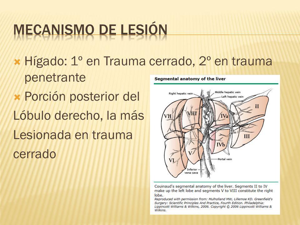 Mecanismo de lesión Hígado: 1º en Trauma cerrado, 2º en trauma penetrante. Porción posterior del. Lóbulo derecho, la más.