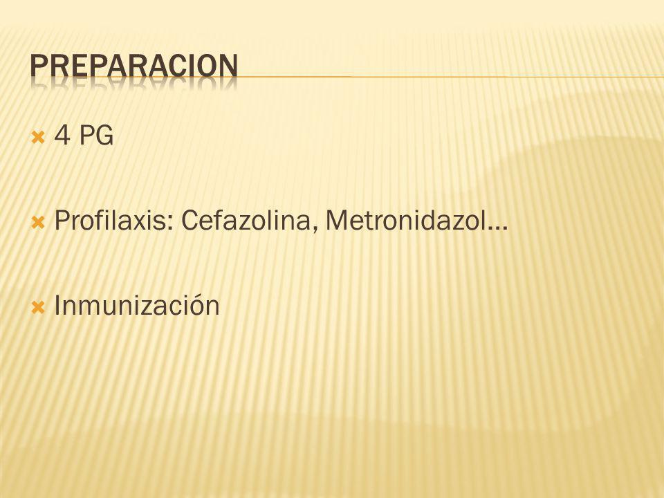 PREPARACION 4 PG Profilaxis: Cefazolina, Metronidazol… Inmunización