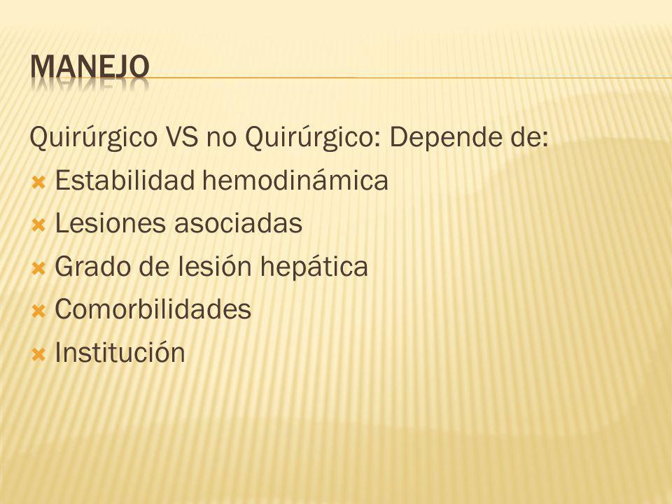 MANEJO Quirúrgico VS no Quirúrgico: Depende de: