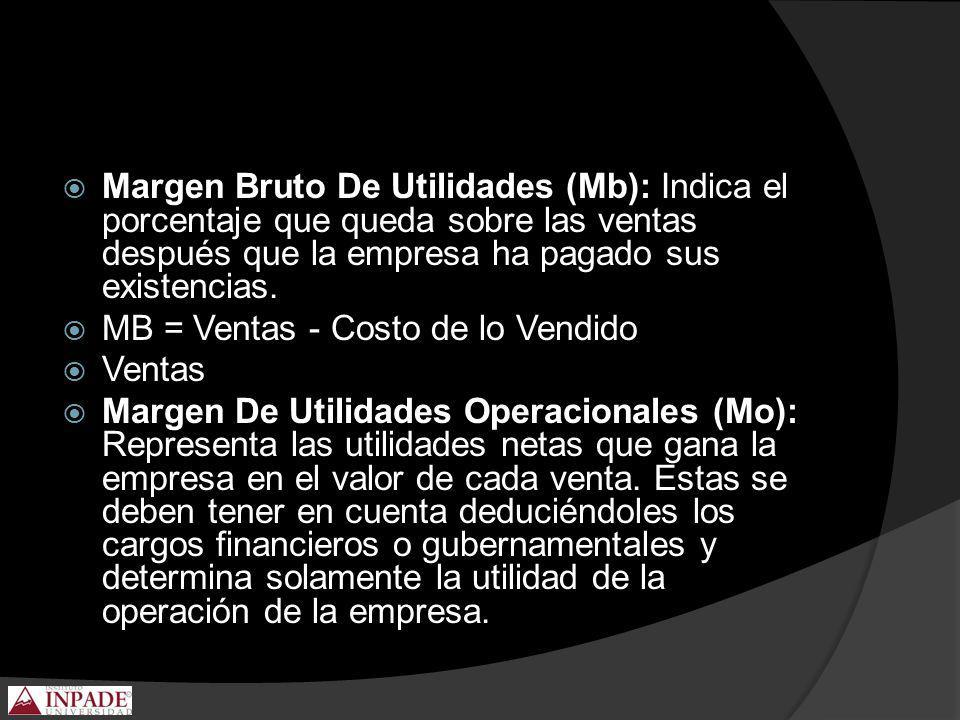 Margen Bruto De Utilidades (Mb): Indica el porcentaje que queda sobre las ventas después que la empresa ha pagado sus existencias.
