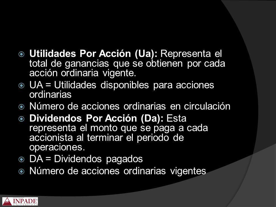 Utilidades Por Acción (Ua): Representa el total de ganancias que se obtienen por cada acción ordinaria vigente.