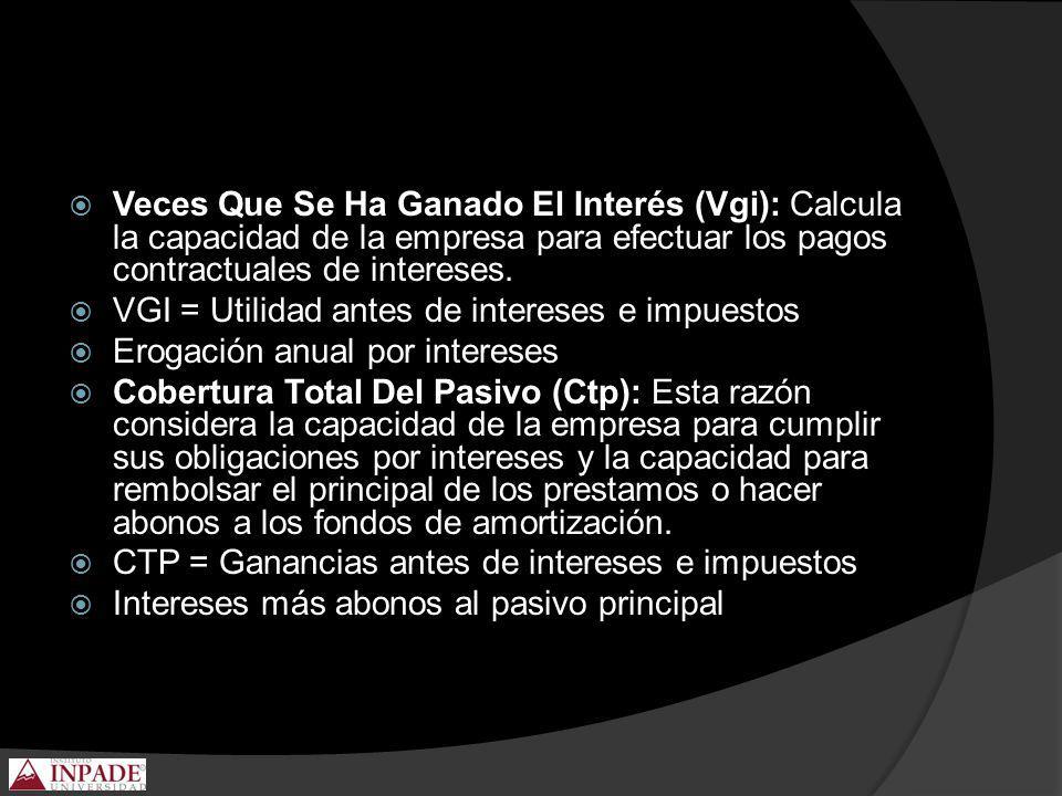 Veces Que Se Ha Ganado El Interés (Vgi): Calcula la capacidad de la empresa para efectuar los pagos contractuales de intereses.