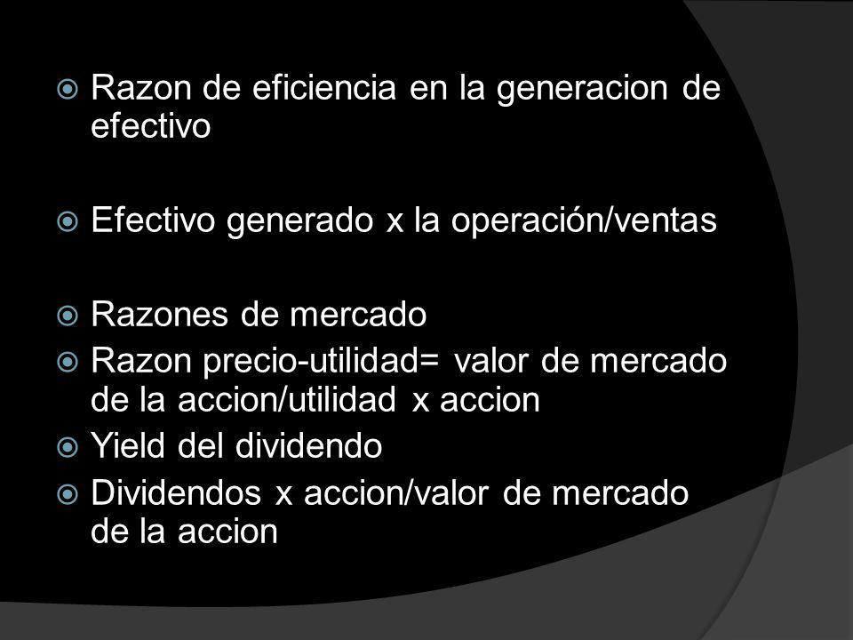 Razon de eficiencia en la generacion de efectivo