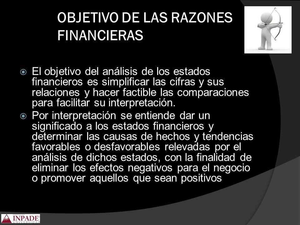 OBJETIVO DE LAS RAZONES FINANCIERAS