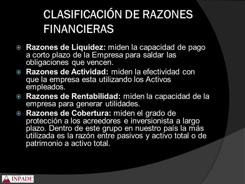 CLASIFICACIÓN DE RAZONES FINANCIERAS