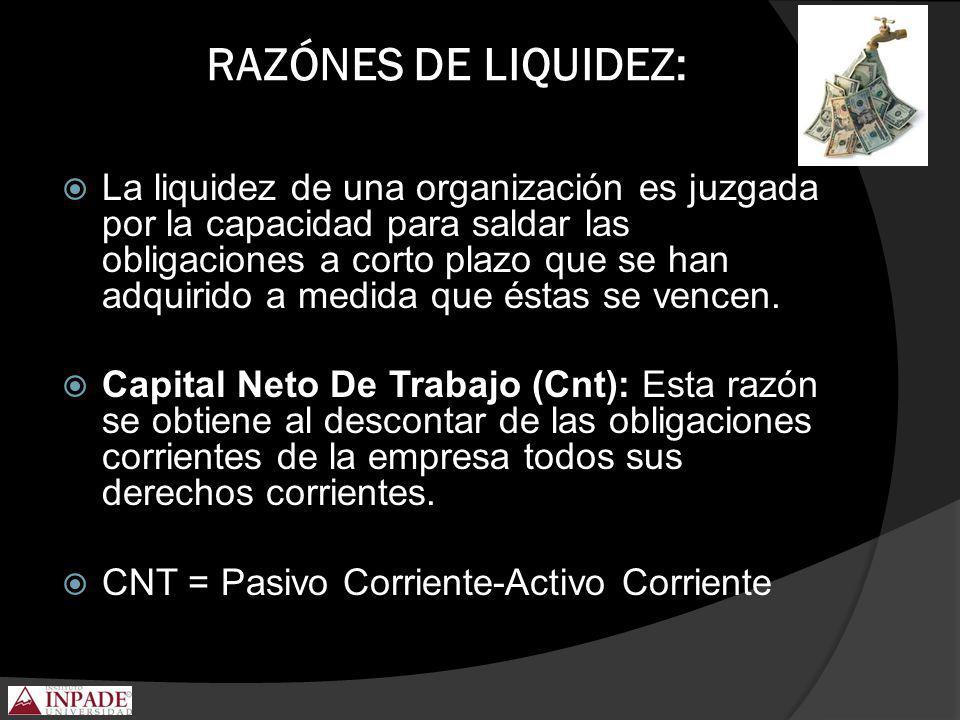 RAZÓNES DE LIQUIDEZ: