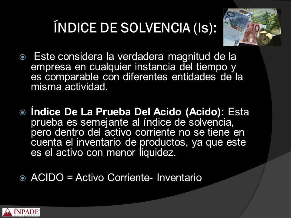 ÍNDICE DE SOLVENCIA (Is):
