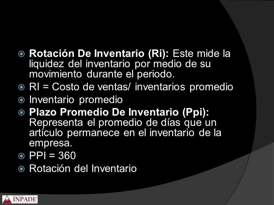 Rotación De Inventario (Ri): Este mide la liquidez del inventario por medio de su movimiento durante el periodo.