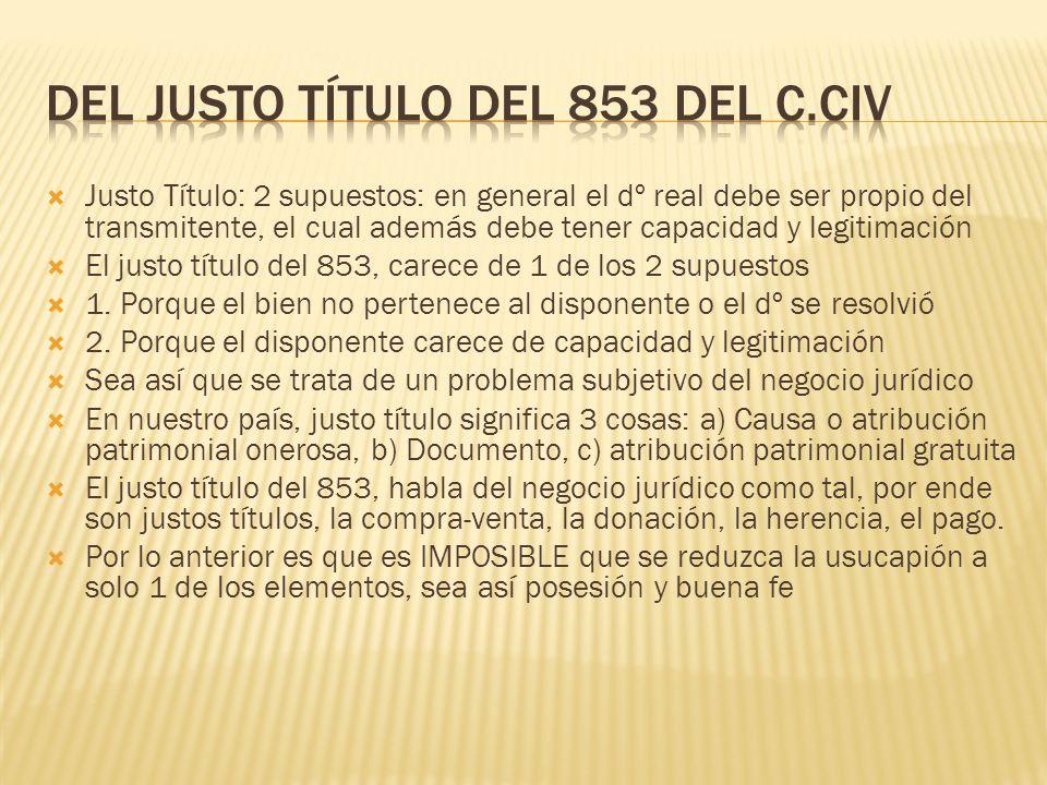Del Justo título del 853 del C.CIV