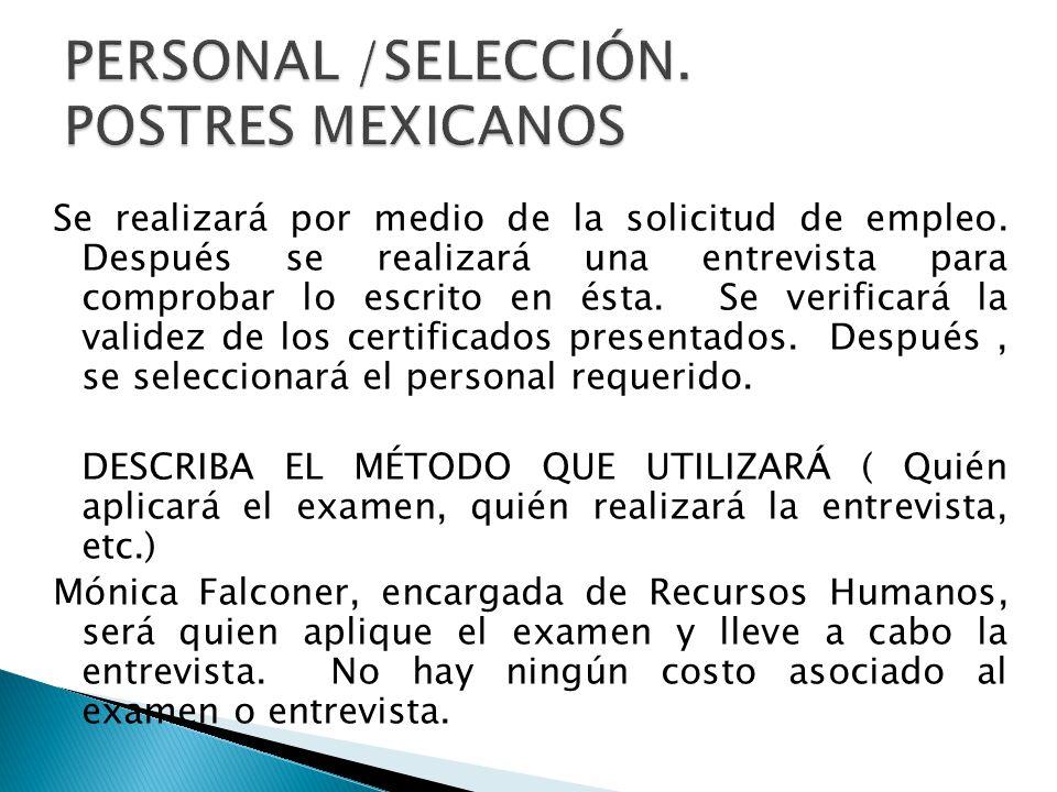 PERSONAL /SELECCIÓN. POSTRES MEXICANOS