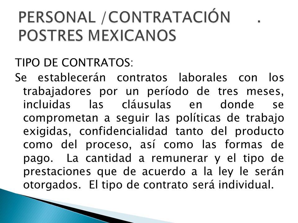 PERSONAL /CONTRATACIÓN . POSTRES MEXICANOS