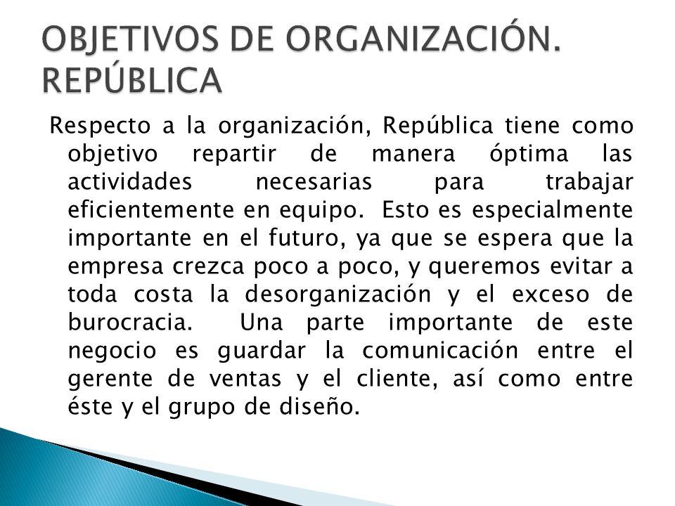 OBJETIVOS DE ORGANIZACIÓN. REPÚBLICA