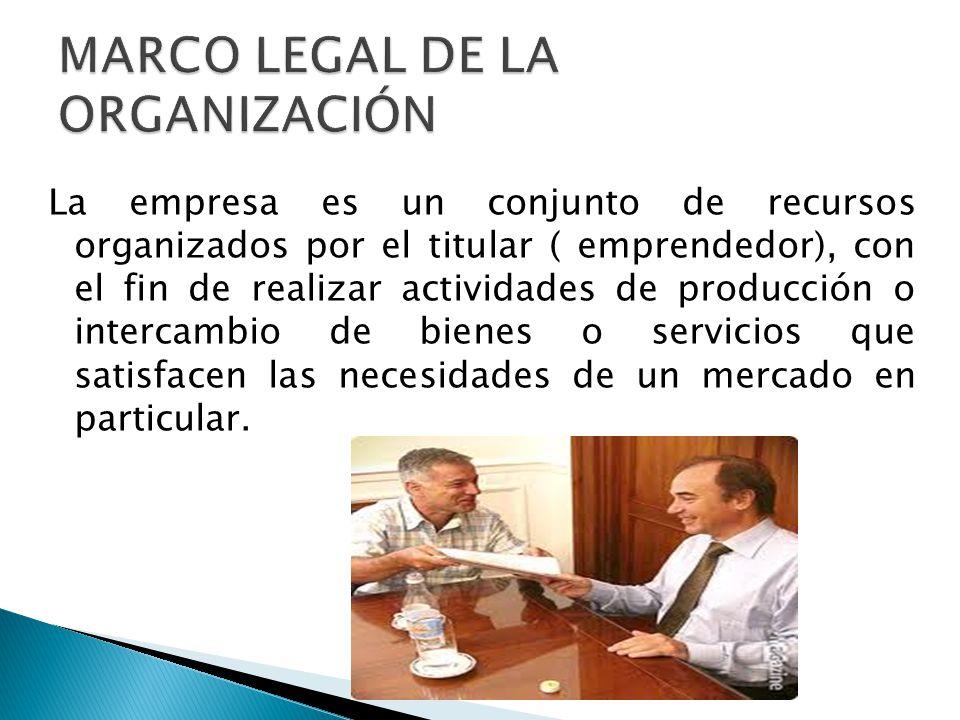 MARCO LEGAL DE LA ORGANIZACIÓN