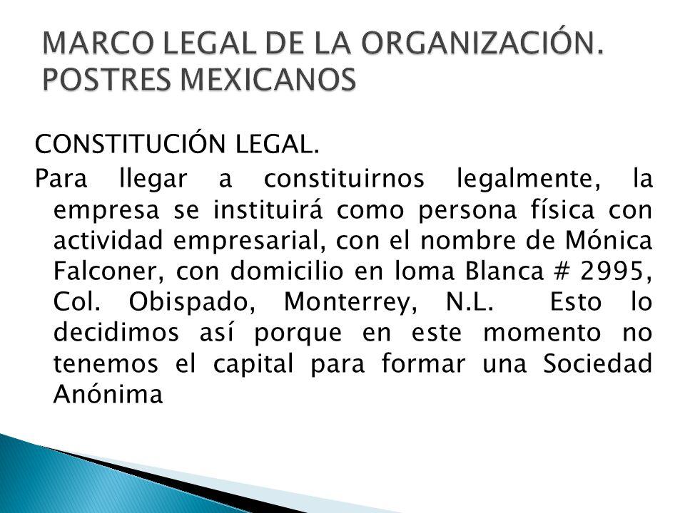 MARCO LEGAL DE LA ORGANIZACIÓN. POSTRES MEXICANOS