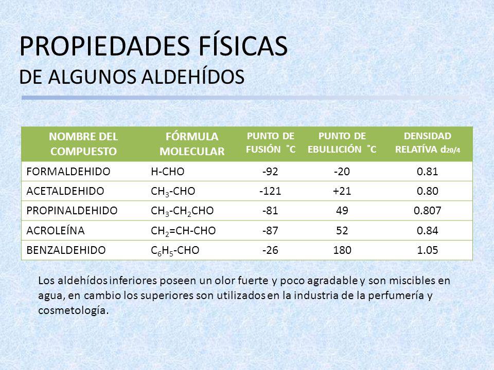 PROPIEDADES FÍSICAS DE ALGUNOS ALDEHÍDOS