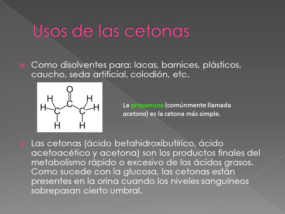 Usos de las cetonas Como disolventes para: lacas, barnices, plásticos, caucho, seda artificial, colodión, etc.