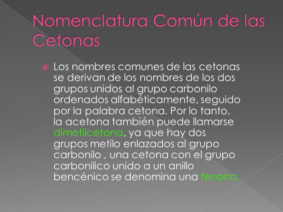 Nomenclatura Común de las Cetonas