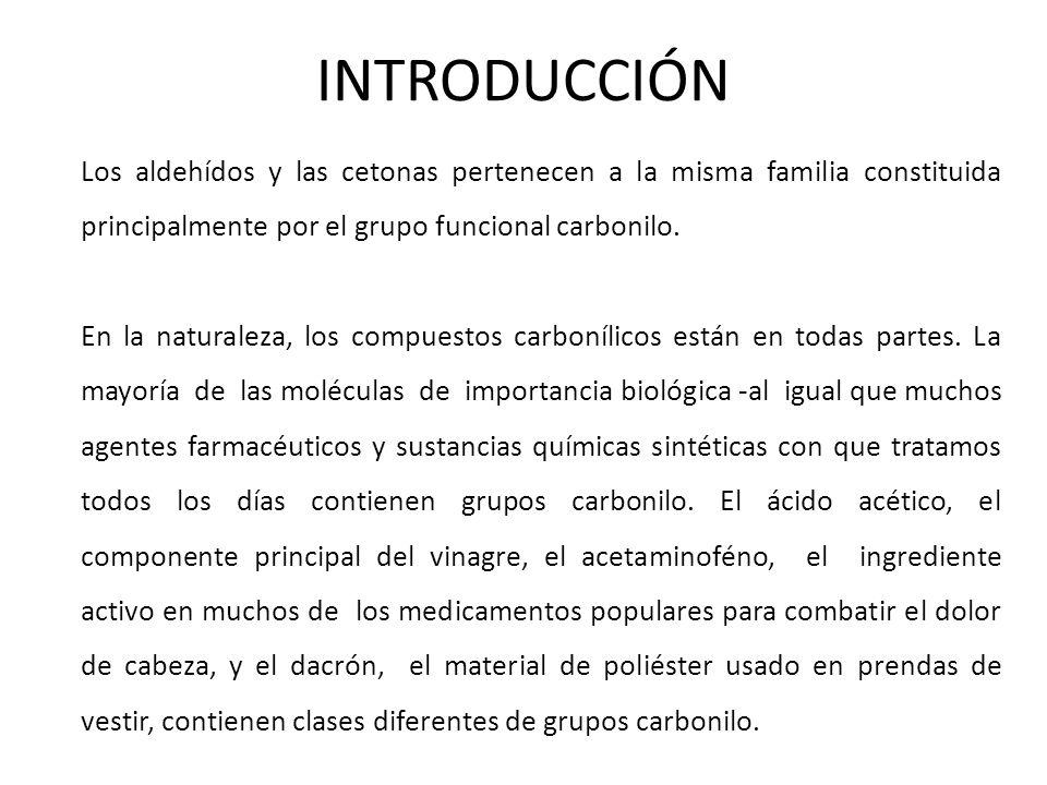 INTRODUCCIÓN Los aldehídos y las cetonas pertenecen a la misma familia constituida principalmente por el grupo funcional carbonilo.