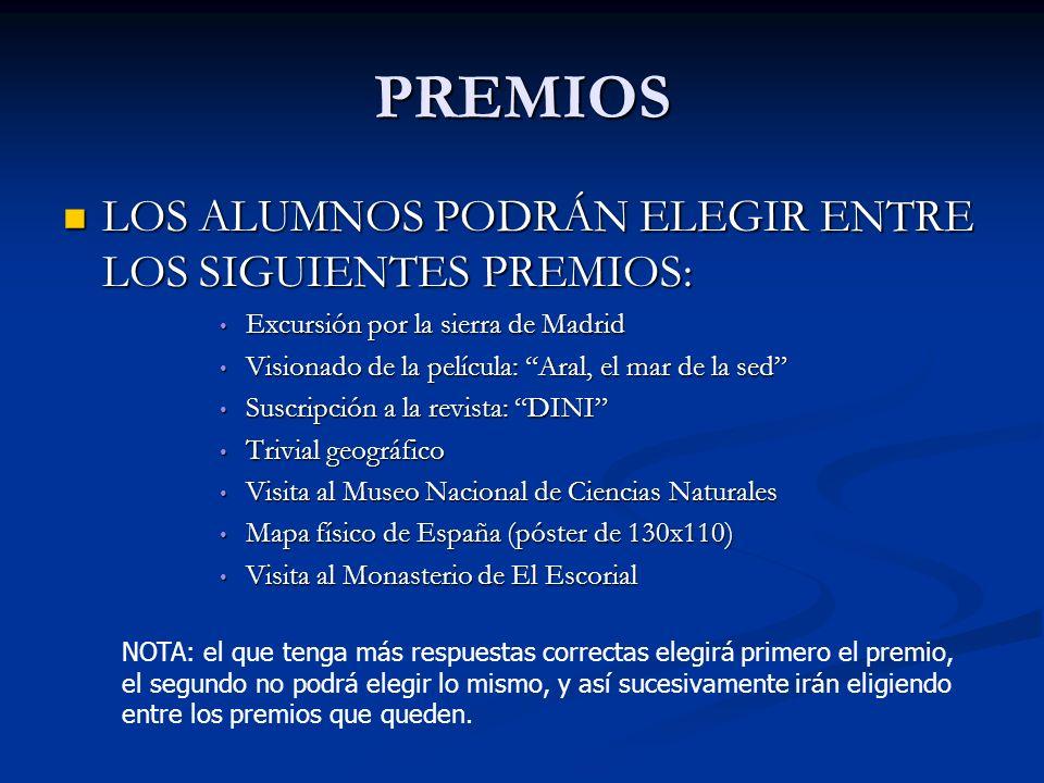 PREMIOS LOS ALUMNOS PODRÁN ELEGIR ENTRE LOS SIGUIENTES PREMIOS: