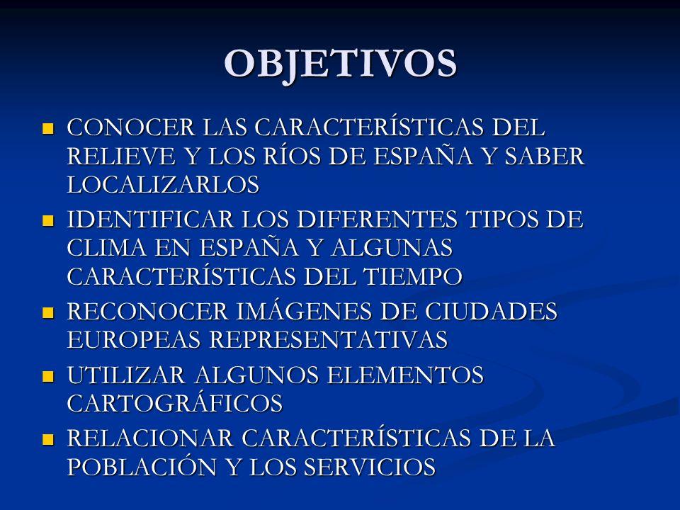 OBJETIVOS CONOCER LAS CARACTERÍSTICAS DEL RELIEVE Y LOS RÍOS DE ESPAÑA Y SABER LOCALIZARLOS.
