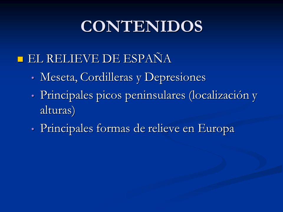 CONTENIDOS EL RELIEVE DE ESPAÑA Meseta, Cordilleras y Depresiones