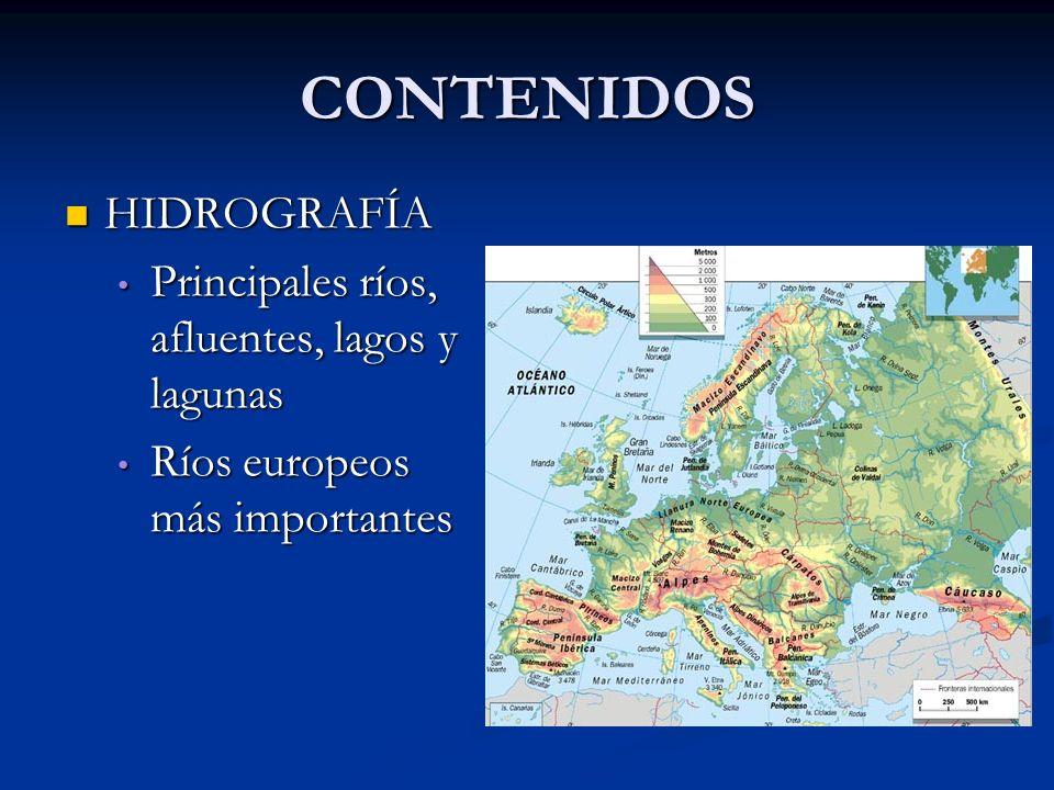 CONTENIDOS HIDROGRAFÍA Principales ríos, afluentes, lagos y lagunas