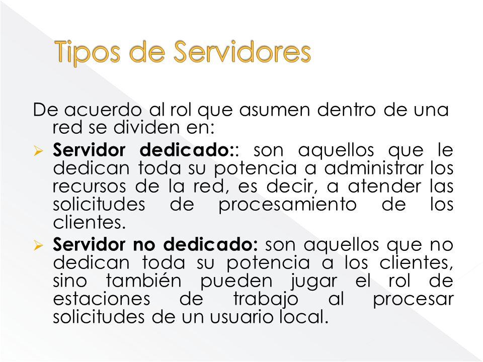Tipos de Servidores De acuerdo al rol que asumen dentro de una red se dividen en: