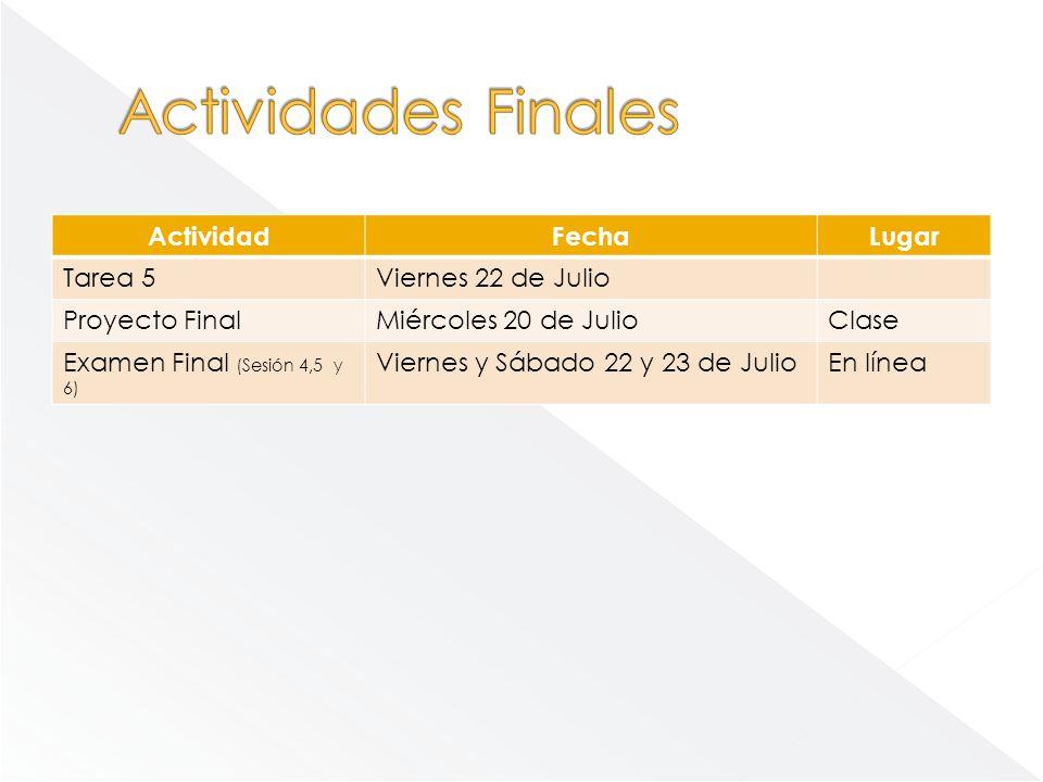 Actividades Finales Actividad Fecha Lugar Tarea 5 Viernes 22 de Julio