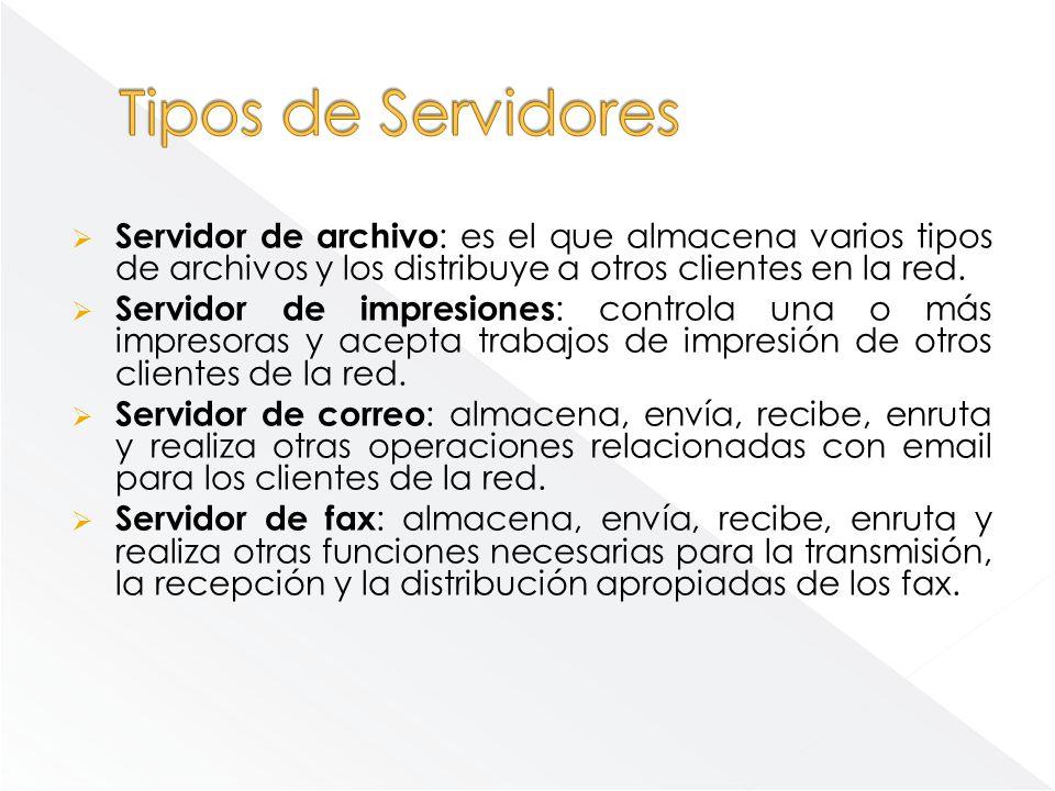 Tipos de Servidores Servidor de archivo: es el que almacena varios tipos de archivos y los distribuye a otros clientes en la red.