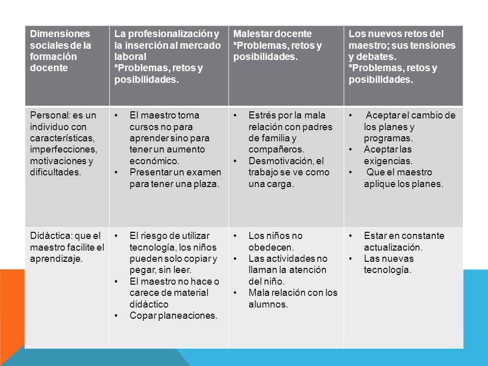 Dimensiones sociales de la formación docente