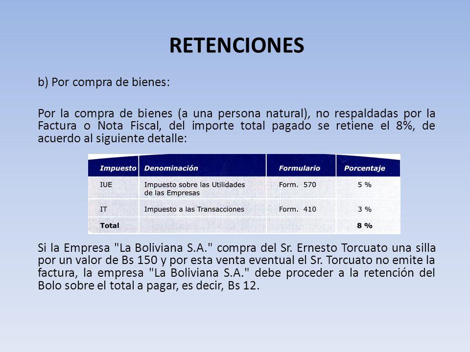 RETENCIONES b) Por compra de bienes: