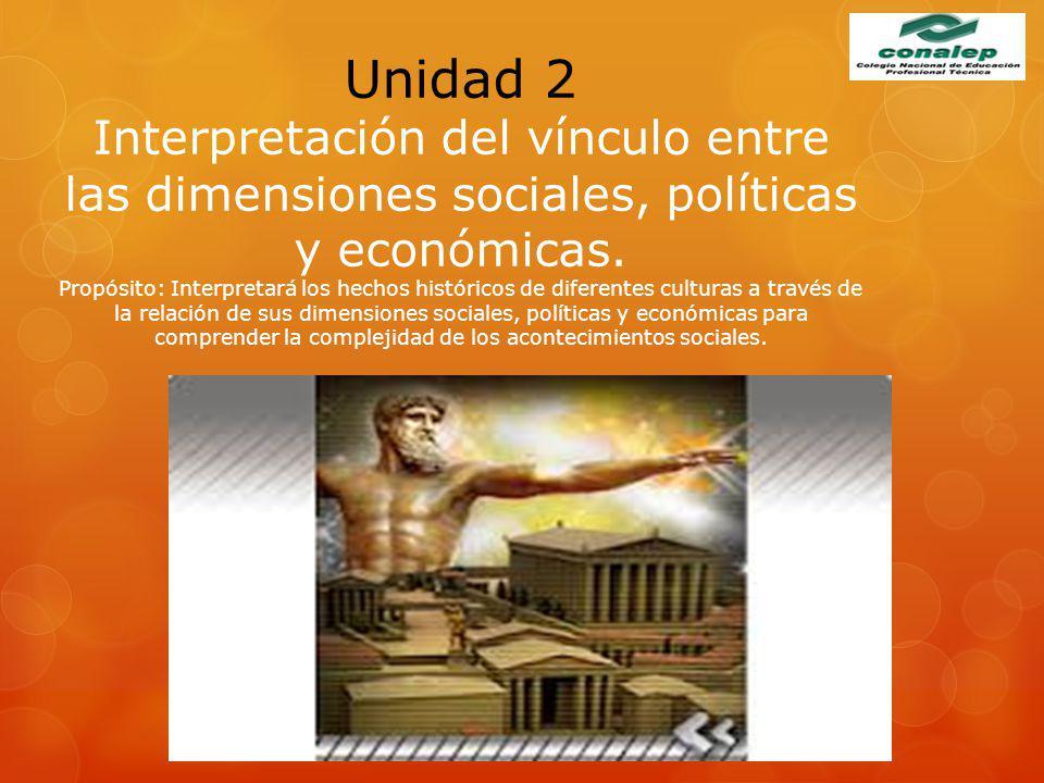 Unidad 2 Interpretación del vínculo entre las dimensiones sociales, políticas y económicas.
