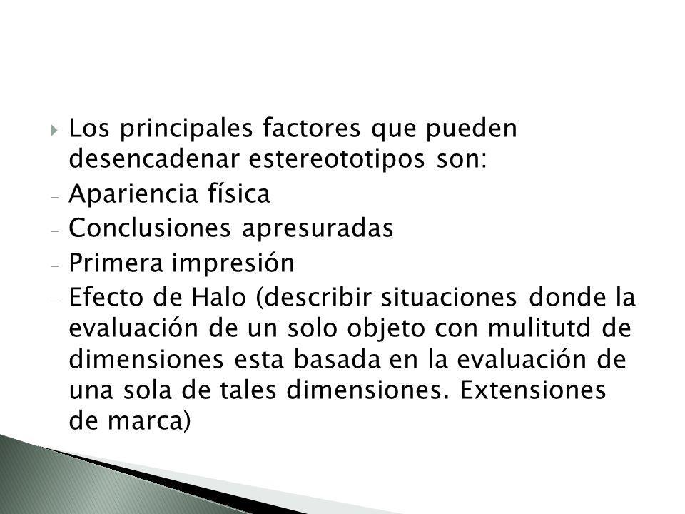Los principales factores que pueden desencadenar estereototipos son: