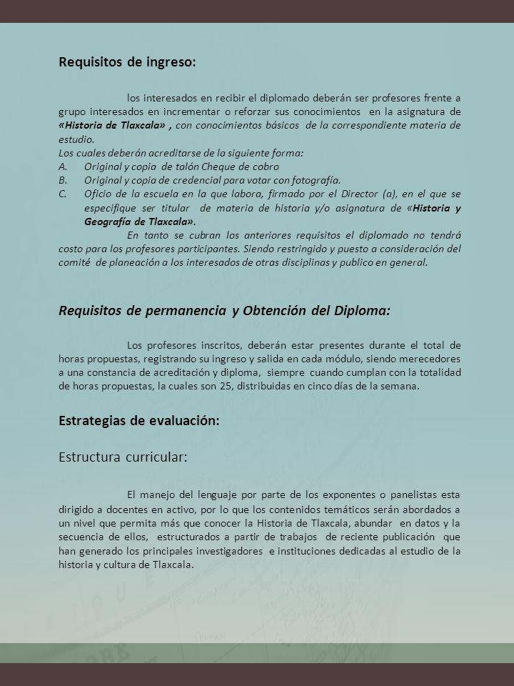 Requisitos de ingreso: